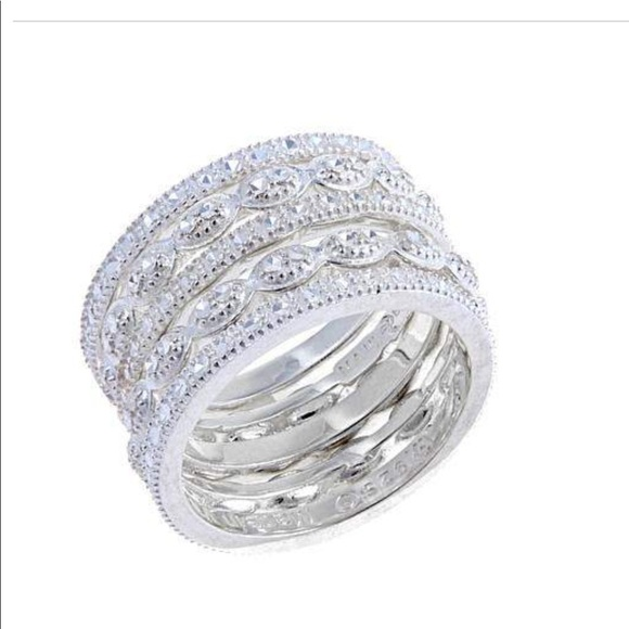 067373e1a70c4a Jewelry | Sevilla Silver 5 Diamond Pressed Bands | Poshmark